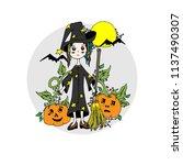 girl on halloween. vector ... | Shutterstock .eps vector #1137490307