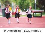happy children girls girlfriend ... | Shutterstock . vector #1137498533