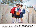 happy children girls girlfriend ... | Shutterstock . vector #1137498683