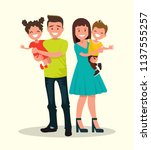 happy family. father  mother ... | Shutterstock .eps vector #1137555257