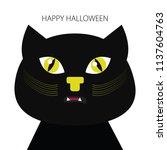 halloween element. black cat.... | Shutterstock .eps vector #1137604763
