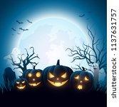 cartoon halloween pumpkins with ... | Shutterstock .eps vector #1137631757