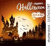 halloween background with... | Shutterstock .eps vector #1137631787