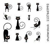 halloween elements. black cats. ... | Shutterstock .eps vector #1137665993