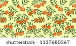 seamless border with rowanberry ... | Shutterstock .eps vector #1137680267