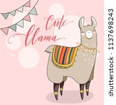 cute lama in cartoon style.... | Shutterstock .eps vector #1137698243