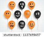 halloween balloons. spooky... | Shutterstock .eps vector #1137698657