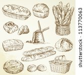 bakery, bread - hand drawn set - stock vector