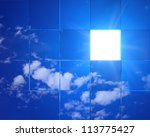 Tiled Sky Background With Ligh...