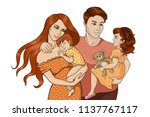 colorful happy family sketch 2 | Shutterstock .eps vector #1137767117