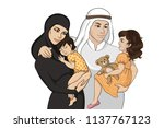 colorful arabian happy family... | Shutterstock .eps vector #1137767123