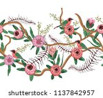 seamless border with tropical... | Shutterstock .eps vector #1137842957