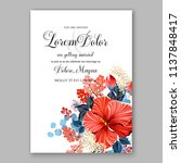 floral wedding invitation ... | Shutterstock .eps vector #1137848417