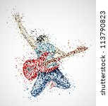 abstract guitarist from circles.... | Shutterstock .eps vector #113790823