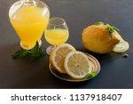 bottle of limoncello and lemons ... | Shutterstock . vector #1137918407
