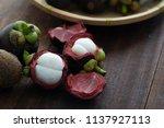 mangosteen tropical fruit   Shutterstock . vector #1137927113