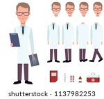 radiologist in lab coat holding ... | Shutterstock .eps vector #1137982253