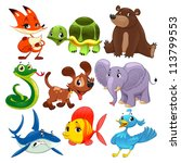 Set Of Animals. Cartoon And...