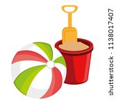 balloon beach with sand bucket | Shutterstock .eps vector #1138017407