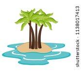 tree palms on the beach | Shutterstock .eps vector #1138017413