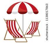wooden beach chair with umbrella | Shutterstock .eps vector #1138017863
