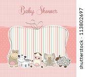 baby girl shower card | Shutterstock .eps vector #113802697