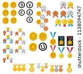 set gold medal with ribbon...   Shutterstock .eps vector #1138094747