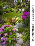 lush landscaped garden with... | Shutterstock . vector #113810047