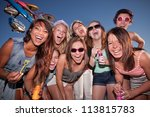 group of happy girls with... | Shutterstock . vector #113815783