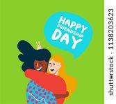 happy friendship day card with... | Shutterstock .eps vector #1138203623