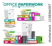 stack of papers  file folders... | Shutterstock .eps vector #1138366307