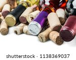 bottle with red wine and wine... | Shutterstock . vector #1138369037