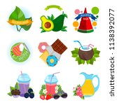 a set of stickers with a summer ... | Shutterstock .eps vector #1138392077