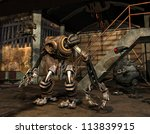 Rendering Steampunk machine in an abandoned industrial building - stock photo