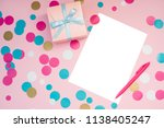 decorated boxes and blank white ... | Shutterstock . vector #1138405247
