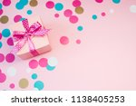 decorated boxes and confetti on ... | Shutterstock . vector #1138405253
