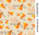 orange pear. hello  august.... | Shutterstock .eps vector #1138430783