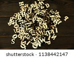 bunde of alphabet from top view ... | Shutterstock . vector #1138442147