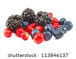 different fresh berries on white background - stock photo