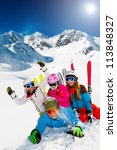 ski  snow  sun and winter fun   ... | Shutterstock . vector #113848327