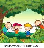 illustration of kids in a... | Shutterstock .eps vector #113849653