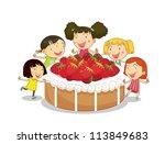 illustration of kids and cake... | Shutterstock .eps vector #113849683