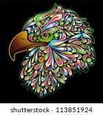 Eagle Hawk Psychedelic Design - stock photo