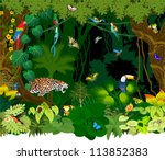 vector jungle background with... | Shutterstock .eps vector #113852383