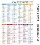 calendar 2019  french printable ... | Shutterstock .eps vector #1138542527