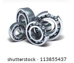 Detailed bearings production over white - stock photo