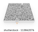 A man at the entrance to a maze - High quality render - stock photo