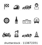 Racing icon series in single color - stock vector