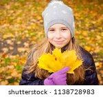 girl at autumn. little child... | Shutterstock . vector #1138728983