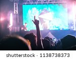 rear view of crowd watching and ... | Shutterstock . vector #1138738373